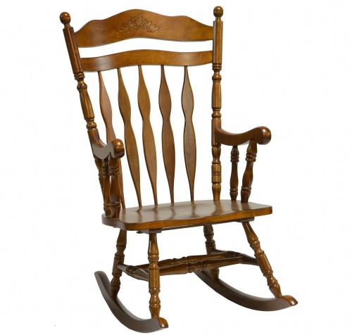 Hardwood Carved Back Rocker-Tobacco